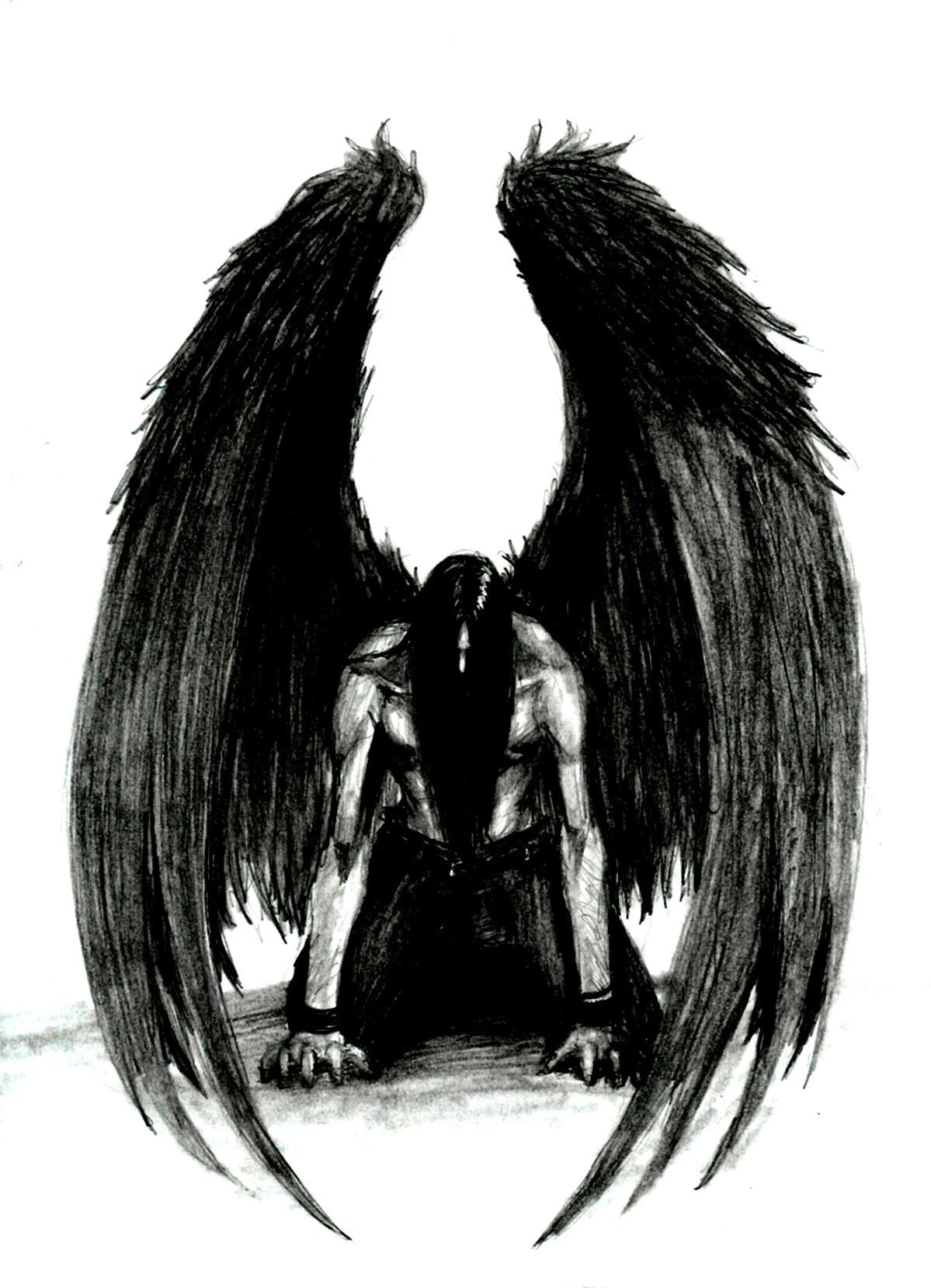 7d1fd6b0fa853 Male Fallen Dark Angel Tattoo Design