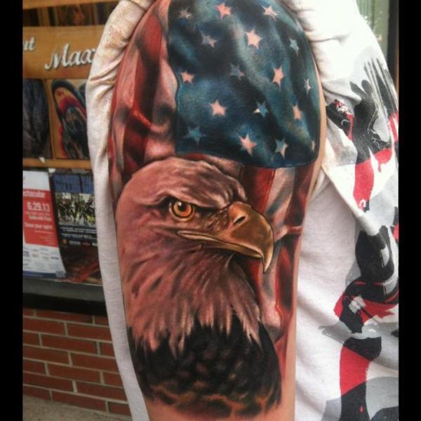 Nice Composition Tattoo Of American Flag Eagle Tattoo On Half Sleeve