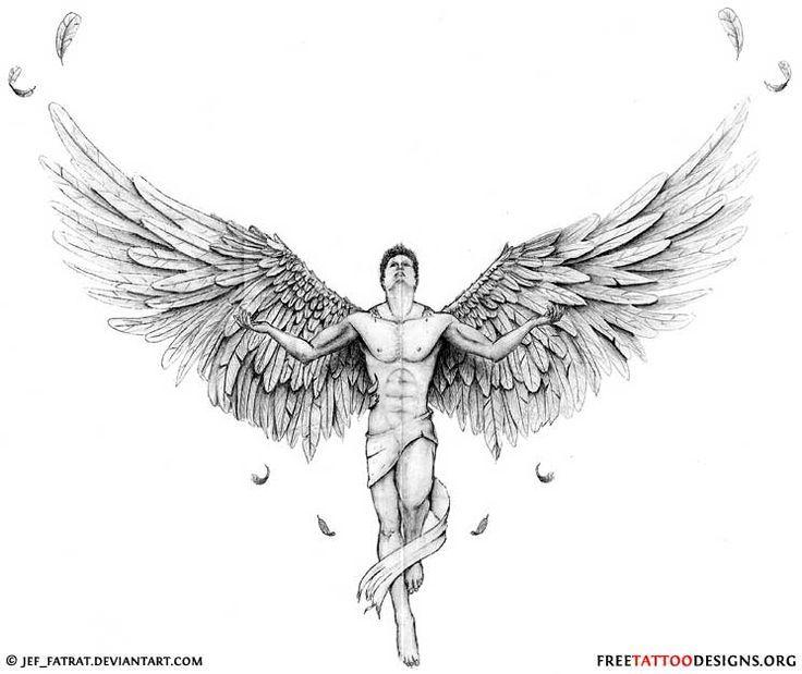 Open wings male fallen angel tattoo design altavistaventures Images
