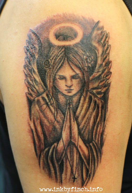 praying angel tattoo with halo on half sleeve for men. Black Bedroom Furniture Sets. Home Design Ideas