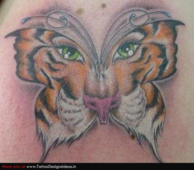 50 incredible tiger butterfly tattoos designs with meanings for Tiger face in butterfly tattoo