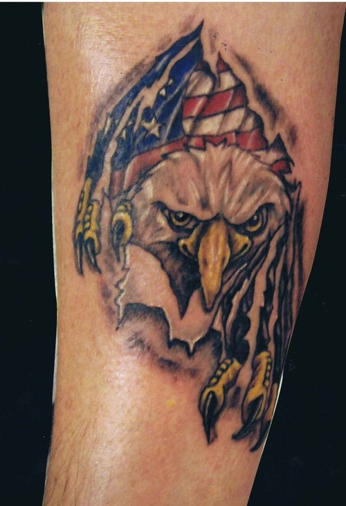 Ripping Skin Eagle American Flag Tattoo On Forearm