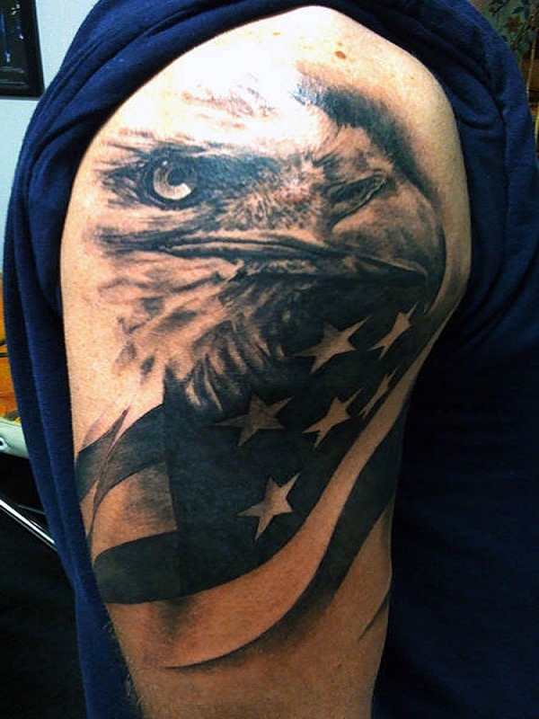 tremendous american eagle eye tattoo on half sleeve. Black Bedroom Furniture Sets. Home Design Ideas