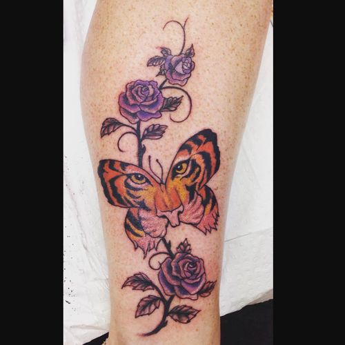 50 incredible tiger butterfly tattoos designs with meanings for Unique rose tattoos