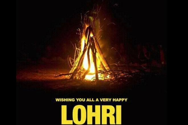 Wishing You All A Very Happy Lohri Bonfire In Background