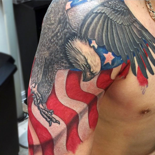 95+ Bald Eagle With American Flag Tattoos & Designs With ...