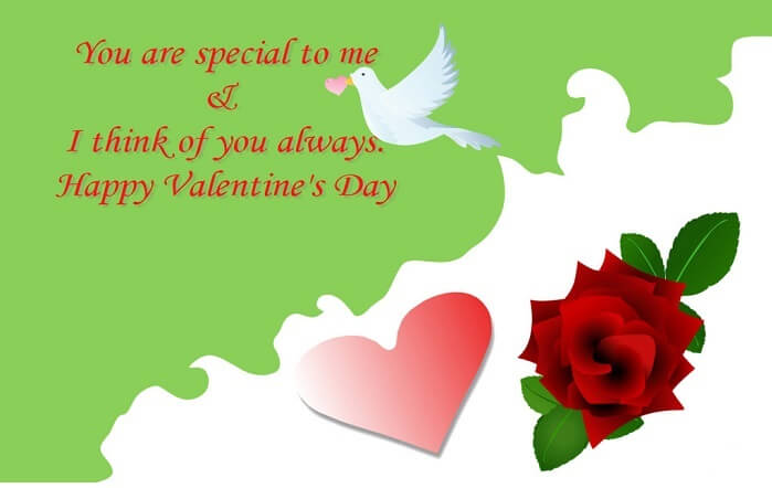 you are special to me and i think of you always happy valentines day