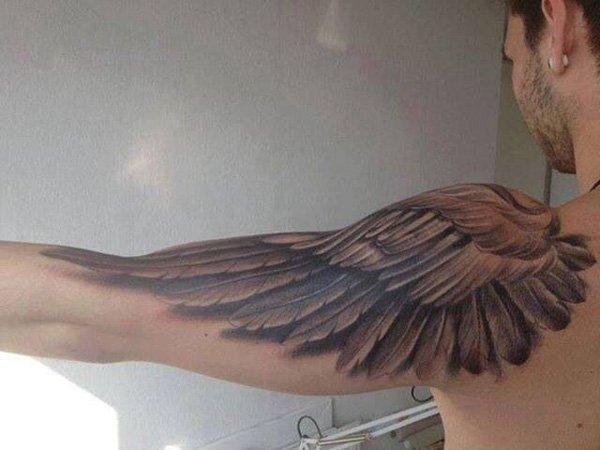 3D Breathtaking Grey Ink Eagle Wing Tattoo On Shoulder & Sleeve