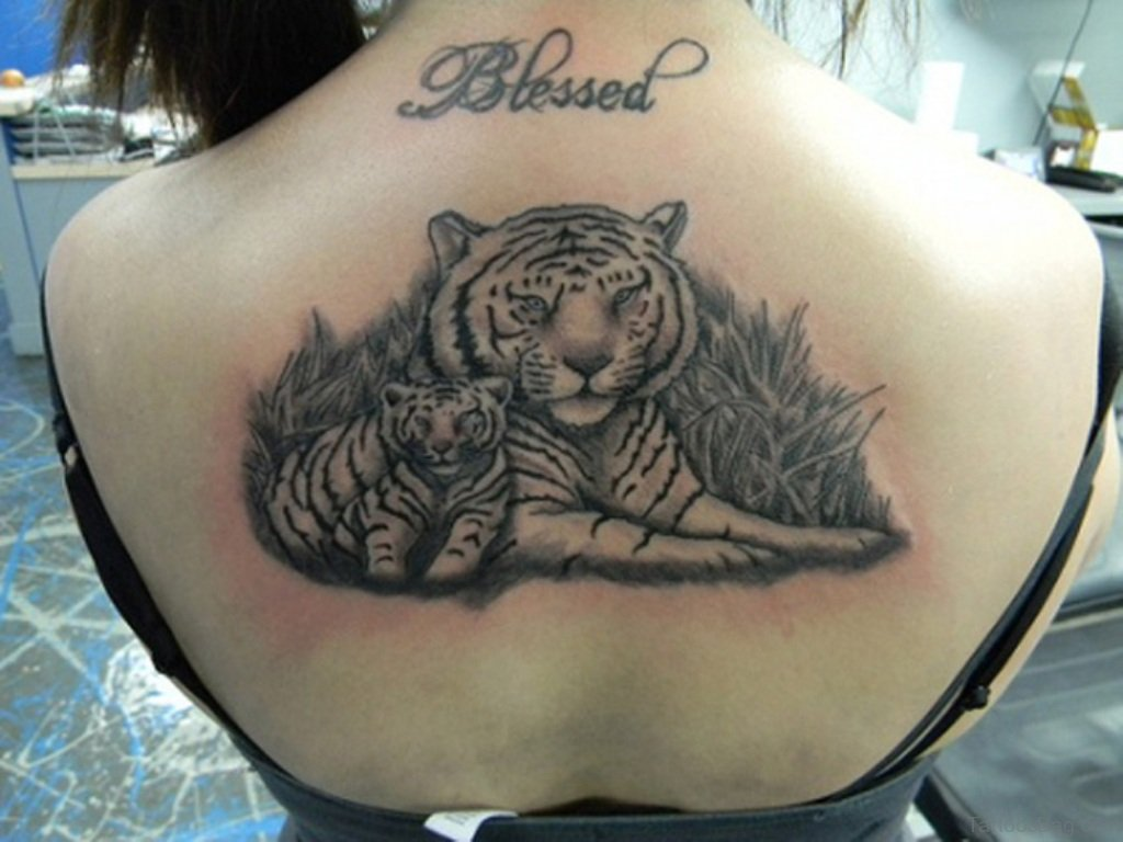 b6bac1ca4 Amazing Grey Ink White Tigress & Baby Tiger Tattoo Design On Girl Back  Represents Mother & Child Love