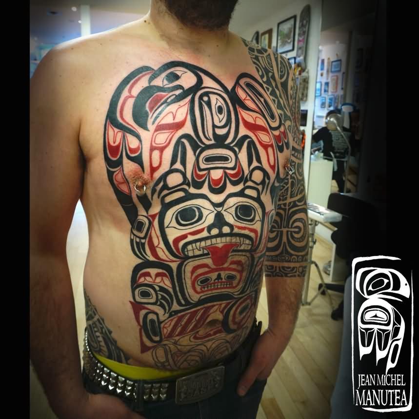 Amazing Haida Gwaii Eagle Tattoo On Guy Front Body By Jean Michel