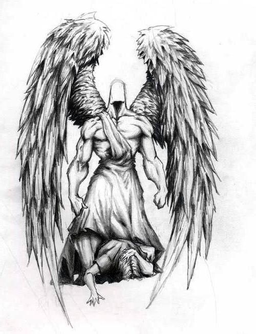 Amazing Muscular Protector Guardian Angel Tattoo Design