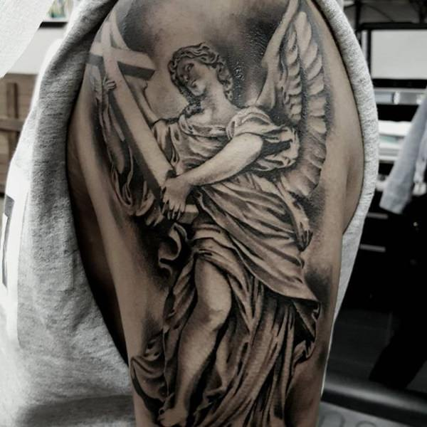 1bbc0257ffc01 Awesome Grey Ink Angel With Cross Tattoo On Half Sleeve