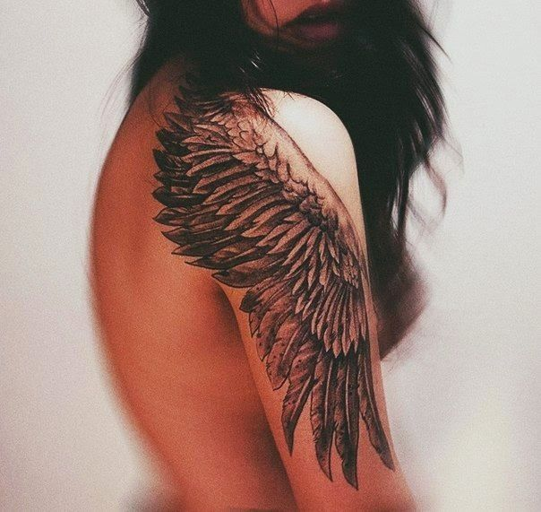 Beautiful Grey Ink Eagle Wing Tattoo On Shoulder & Half Sleeve For Girls