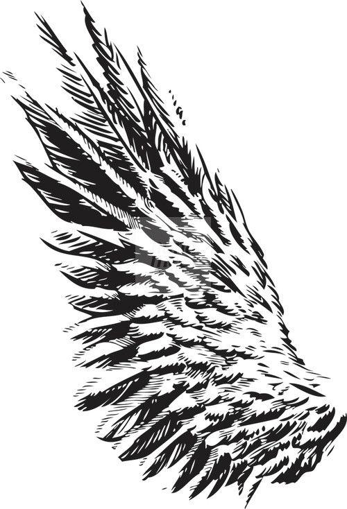 Black Ink Eagle Wing Tattoo Design