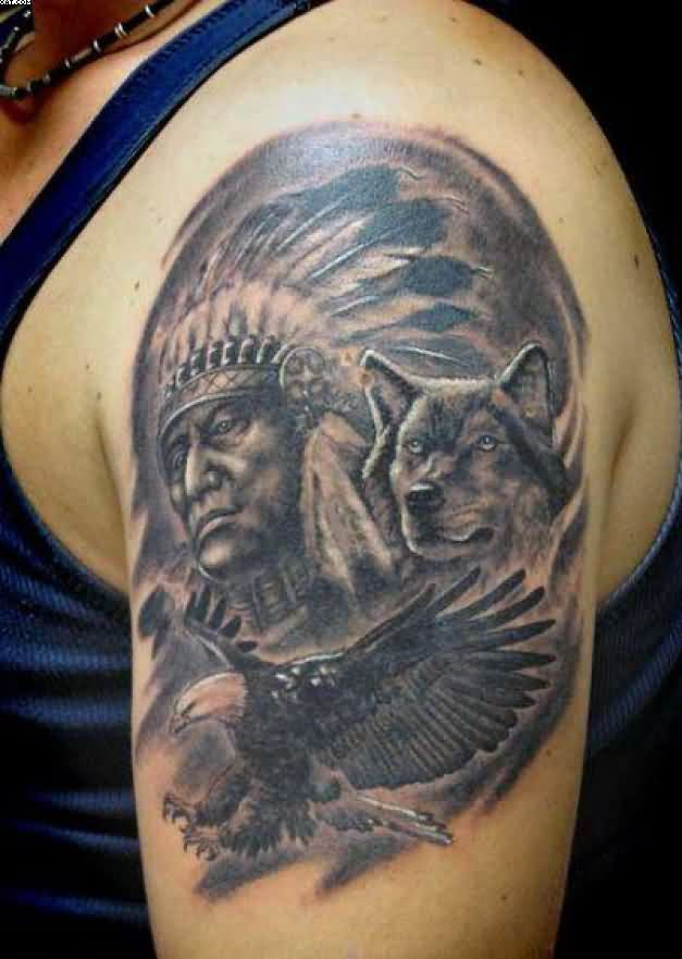 a504192e8 Black Ink Native American With Wolf & Flying Eagle Tattoo On Half Sleeve