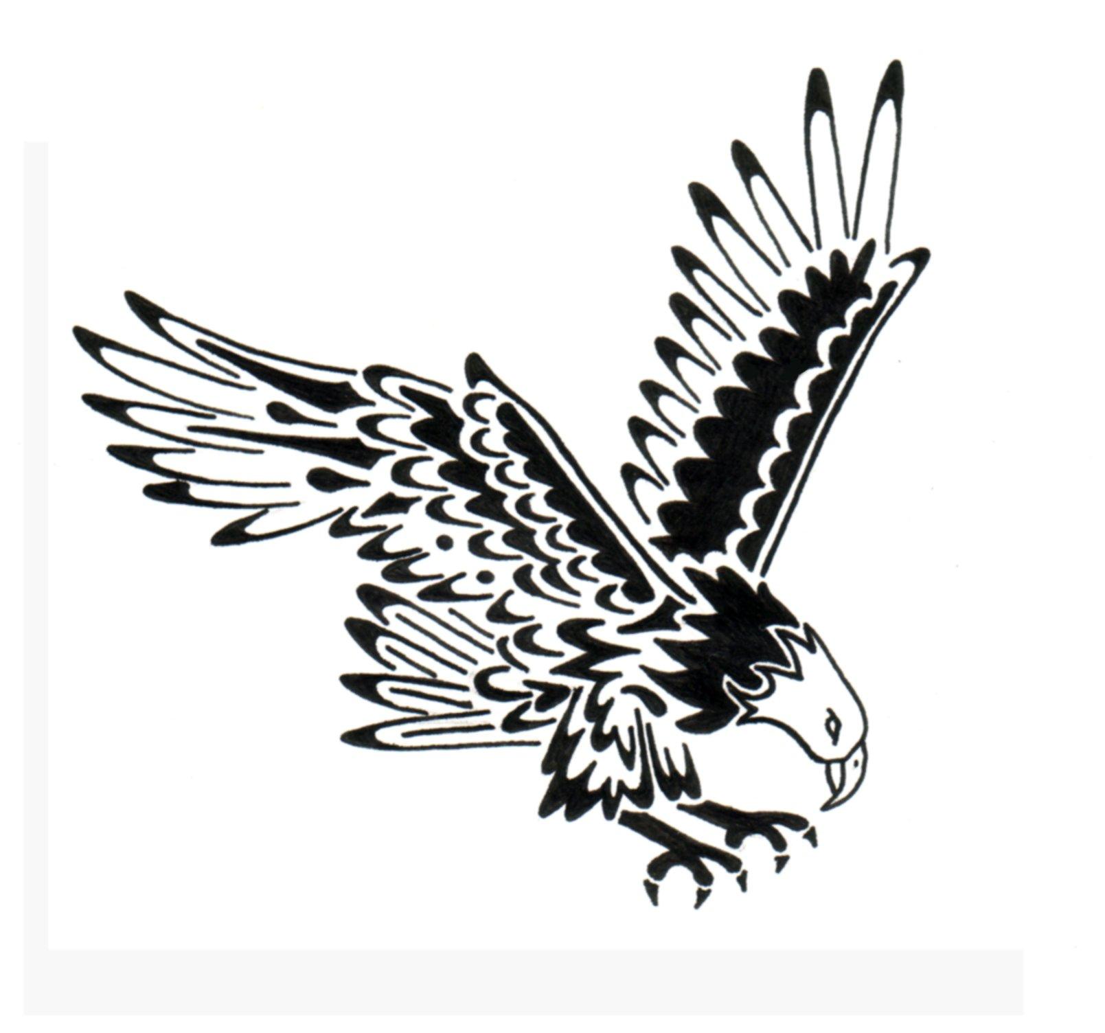 94653d537 Black Ink Simple Soaring Eagle Tattoo Design
