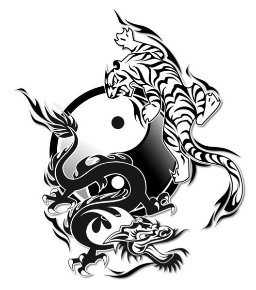 Black Ink Tiger Dragon With Yin Yang Tattoo Design
