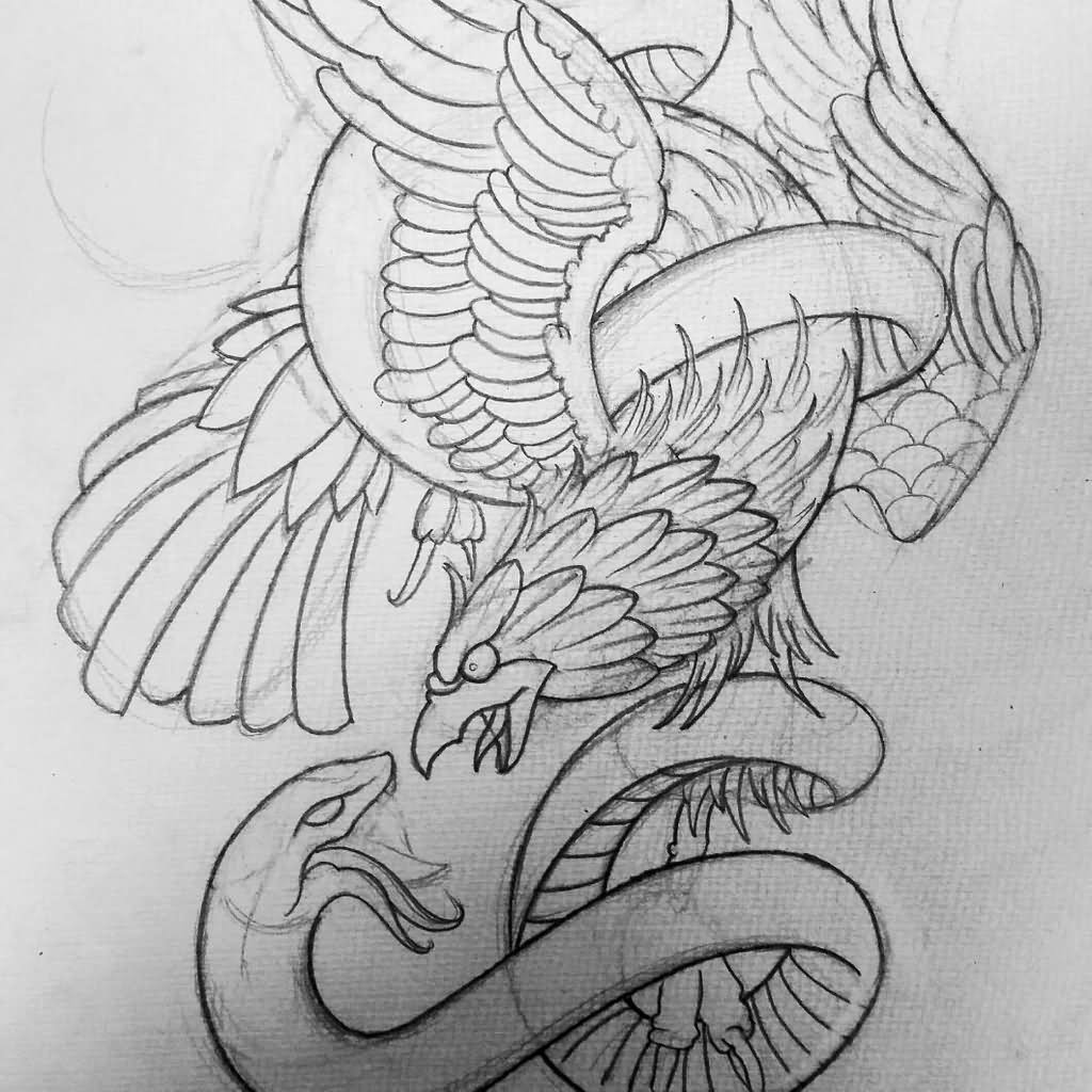 Black Outline Eagle And Snake Tattoo Stencil Drawing