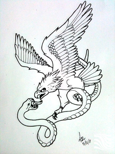 Snake Tattoo Line Drawing : Remarkable eagle snake tattoos designs with meanings