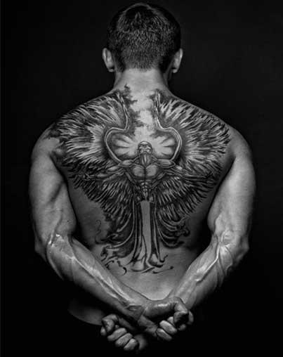 black white angel of death tattoo design on full back for men. Black Bedroom Furniture Sets. Home Design Ideas