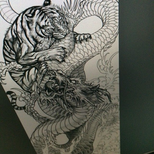 Black White Chisese Dragon Tiger Fighting Tattoo Design