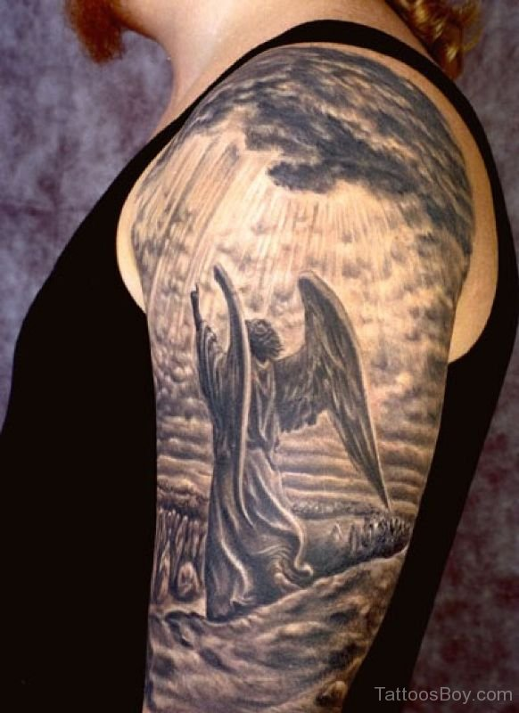 Angel Wings Shoulders Tattoos: Black & White Flying Guardian Angel Tattoo On Man Shoulder