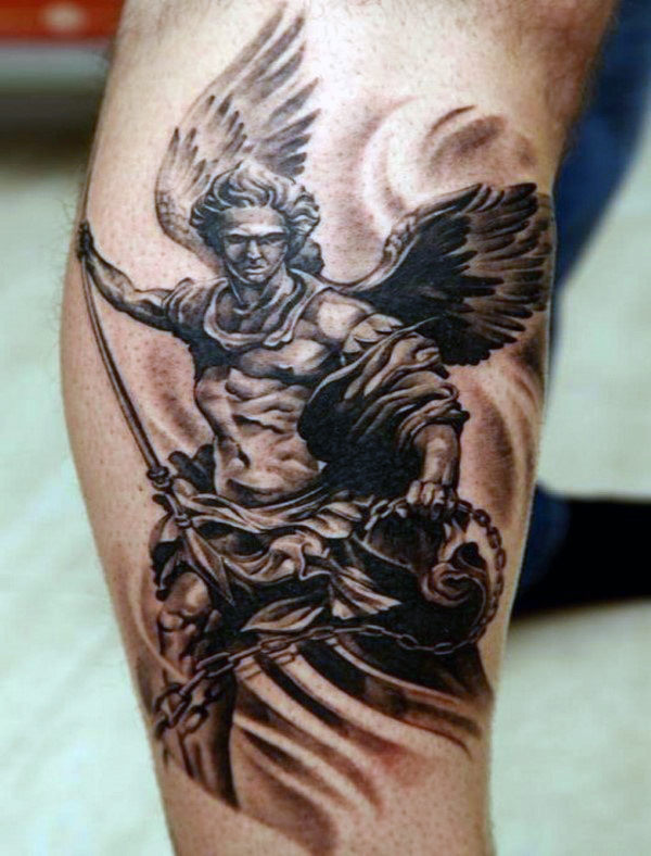 Black White Protector Guardian Angel Tattoo On Man Forearm