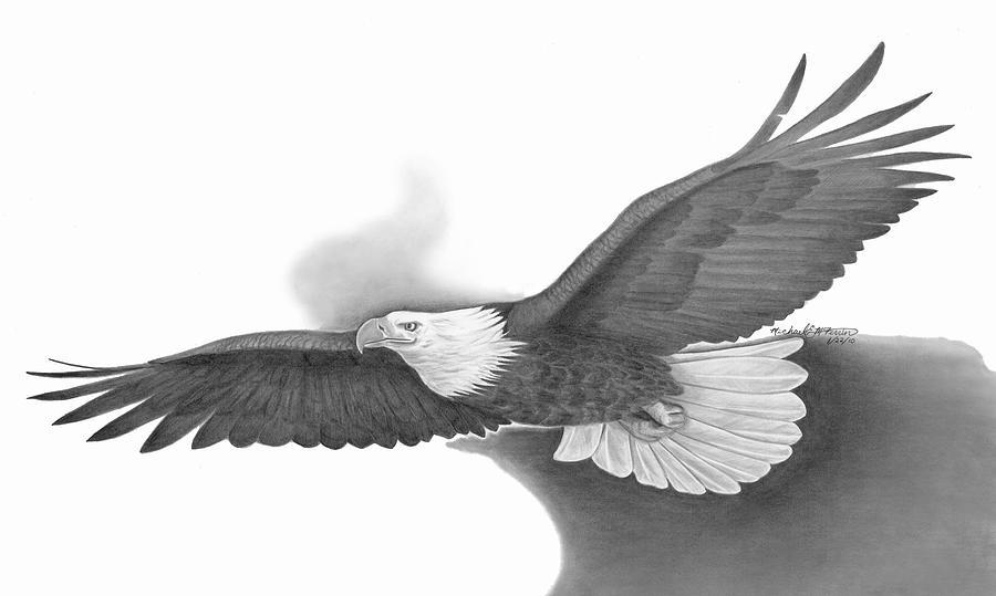 Black & White Realistic Flying Bald Eagle Tattoo Design 1