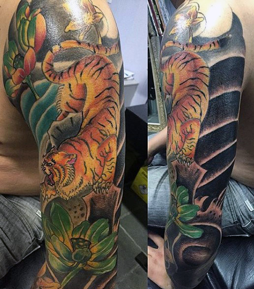 38 Wonderful Colored Tiger Tattoos Design With Meanings
