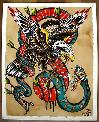 Colorful Eagle Vs. Snake Tattoo Design With Arrows & Blood