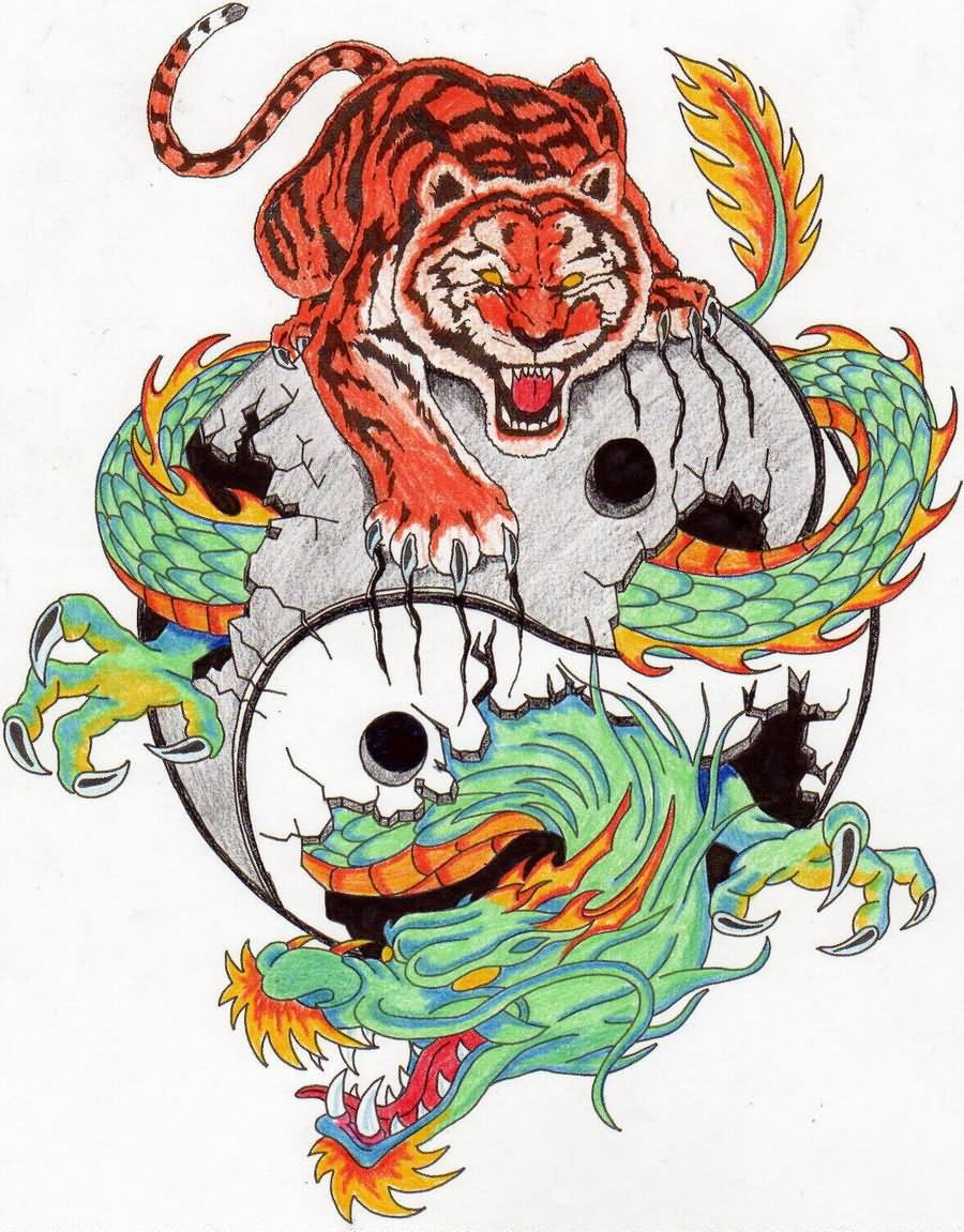 Colorful Tiger Dragon In Yin Yang Tattoo Design
