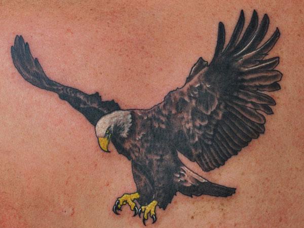 01b0589b4 Dark Grey Ink Flying American Bald Eagle Tattoo Design