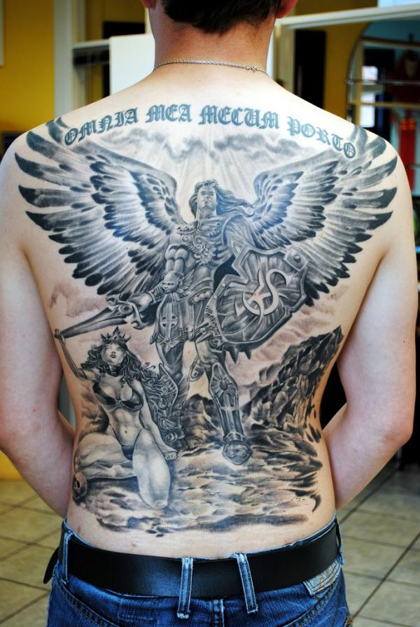 Dark Grey Protector Guardian Angel With Sword Tattoo On Full ...