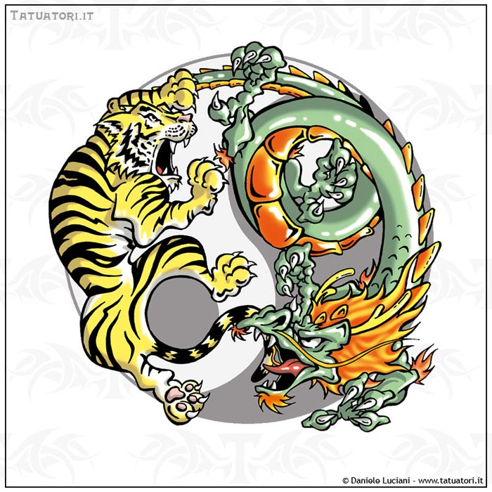 Dragon And Tiger In Yin Yang Tattoo Design