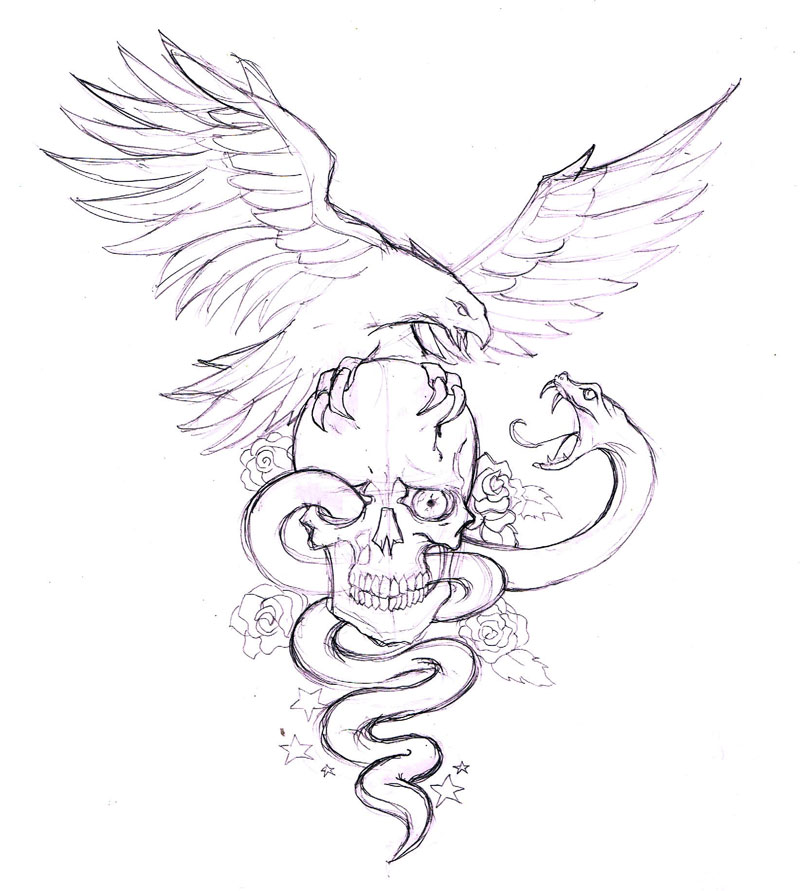 Eagle vs snake with skull tattoo drawing thecheapjerseys Gallery