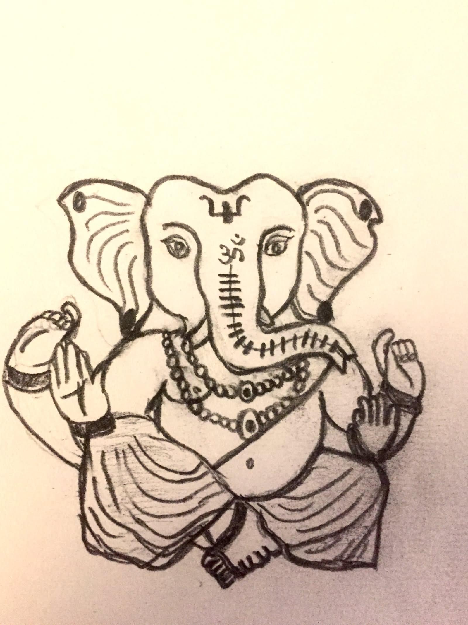 Lord ganesha pencil sketch
