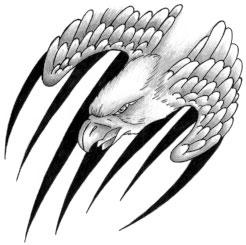Fantastic Grey Ink Eagle Wings & Claw Tattoo Design