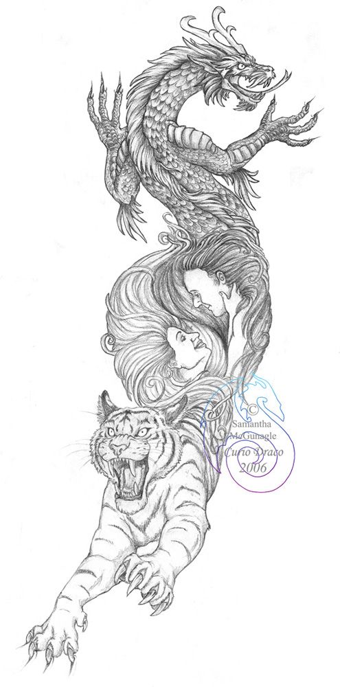 08ffdd6b0b915 45+ Dragon And Tiger Tattoos & Designs With Meanings