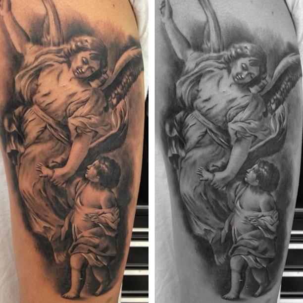 65 adorable cherub tattoos designs with meanings for Angel half sleeve tattoo