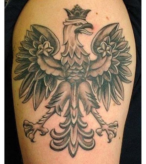 Grey Ink Crowned Eagle Tattoo On Shoulder