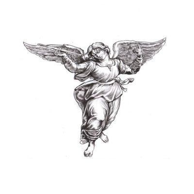 grey ink dancing female angel tattoo design. Black Bedroom Furniture Sets. Home Design Ideas