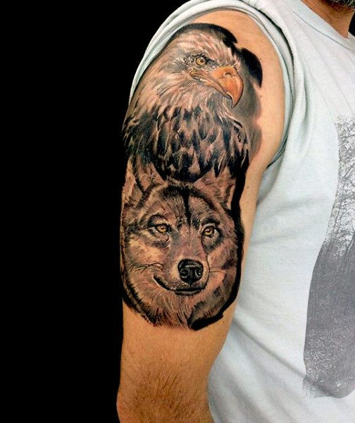 12 Best Eagle Tattoo Images And Designs Ideas: Grey Ink Eagle & Wolf Tattoo On Half Sleeve