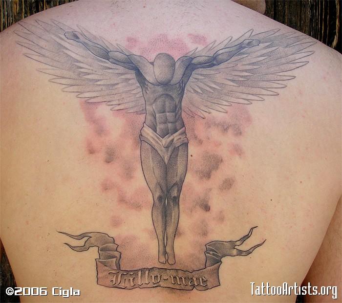 Grey Ink Open Winged Male Guardian Angel Tattoo On Back
