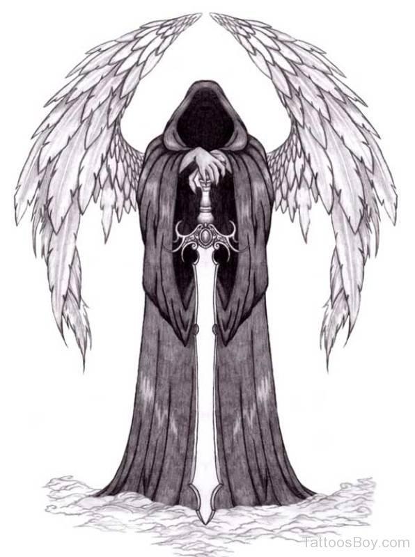 Grey Ink Unique Dark Guardian Angel Tattoo Design