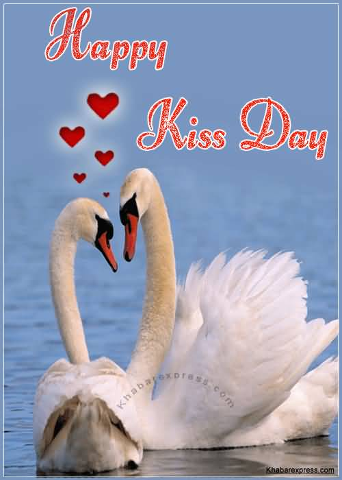 Happy Kiss Day Lovely love ducks greeting card