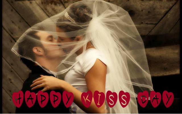 Happy Kiss Day wedding couple kissing picture