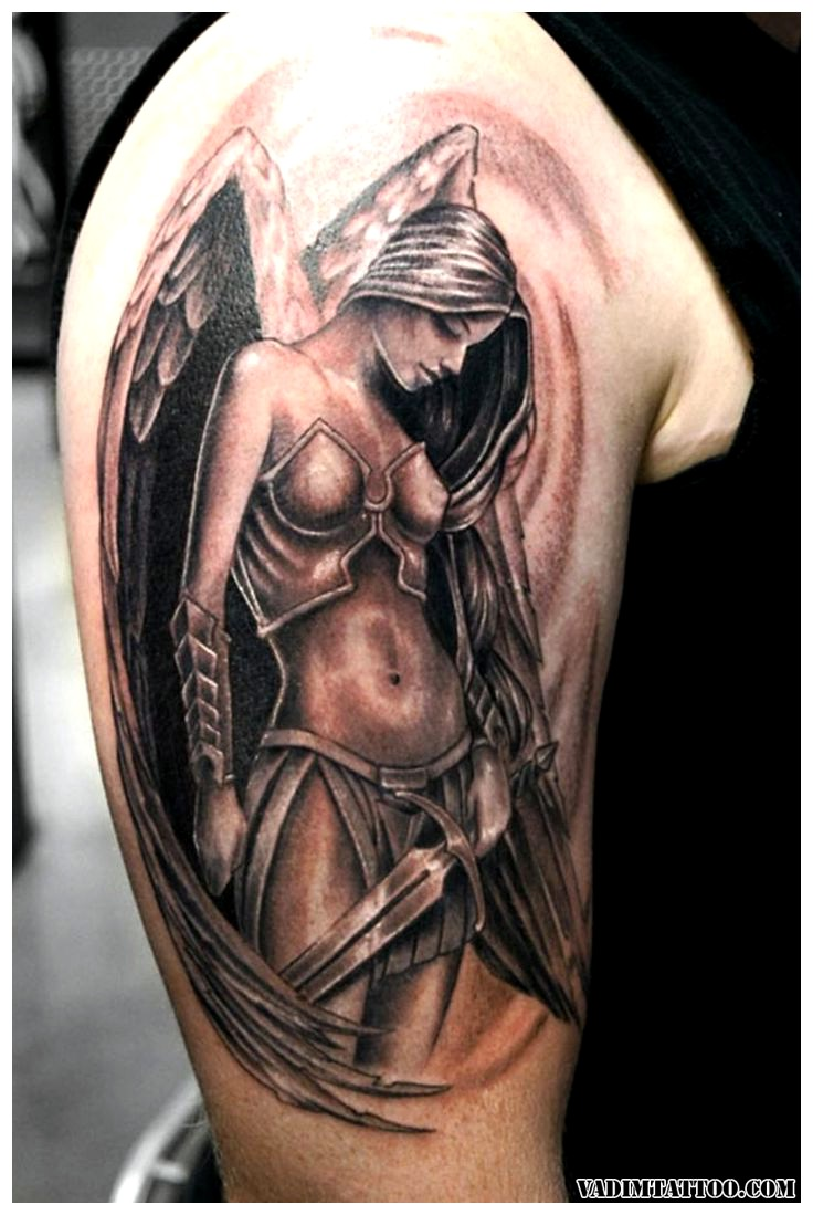f9ce7c974b43d Magnificent Grey Ink Girl Angel Tattoo On Half Sleeve For Men