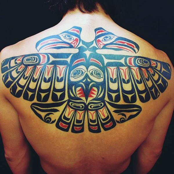 magnificent double headed haida eagle tattoo on male back. Black Bedroom Furniture Sets. Home Design Ideas