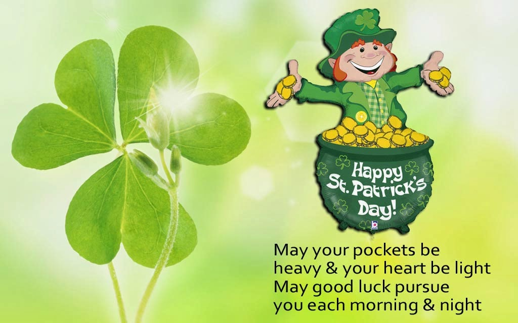 50 most beautiful happy saint patricks day greeting pictures and images may your pockets be heavy and your heart be light happy st patricks day clover leaf wallpaper m4hsunfo