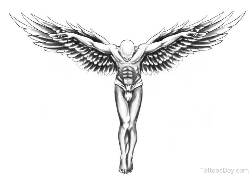Open Wings Flying Guardian Angel Tattoo Design